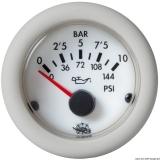 Öldruck Anzeige weiß Blende weiß 0-10 bar 12V
